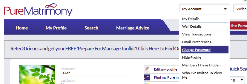 How to change password after signing in – Pure Matrimony Help Centre